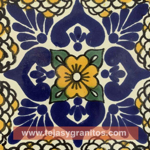 Azulejo de Talavera Lluvia Mostaza