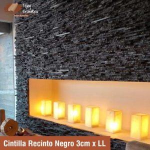 Cintilla Recinto Negro Rustico 3cm x ll